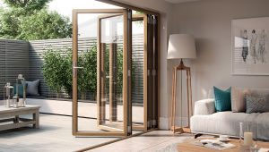 Aluminium bifold door revealed by Epwin